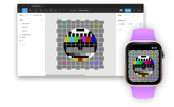 Screen capture of Figma and an Apple Watch, both displaying the same image.